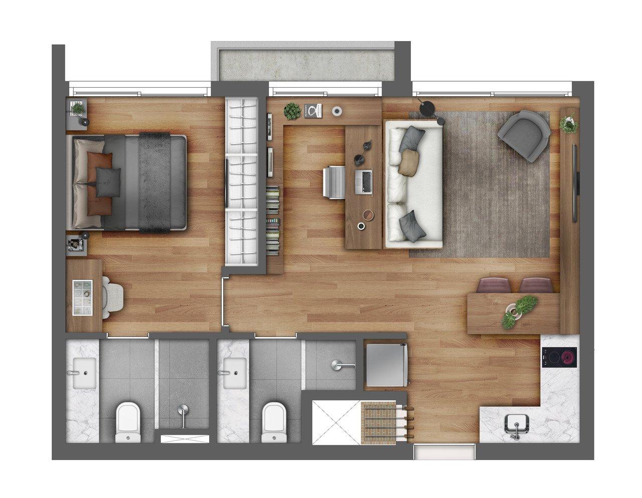 Apartamento com 1 dormitório e escritório