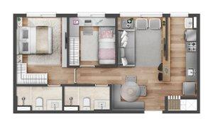 2 dormitórios com suíte no Vivio Lindóia Rua Guadalupe Porto Alegre